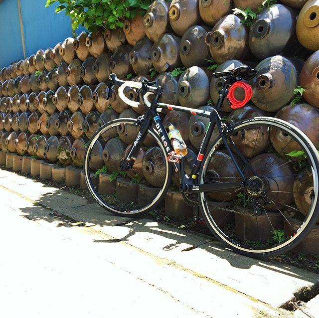 自粛中、近所ぽた散歩 with derosa.・味醂の町の奥深く、ほぼ人に会わない。昔の醸造の瓶を利用した塀に辿り着きました。アメージング・・#自粛散歩#ロードバイク #くるくるまわす系 #ポタリング #デローザのある風景 #自転車のある風景 #derosa #derosaavant #derosabikes #tokyophotographer #tokyophotography #japanphotography #myview #japan #nice #happy #fun #味醂の街
